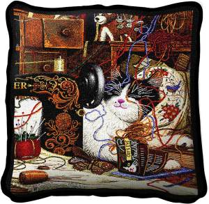 Charles Wysocki | Maggie The Messmaker | Throw Pillow | 17 x 17