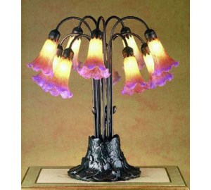 Tiffany Stained Glass Pondlily Accent Lighting | 10 Light