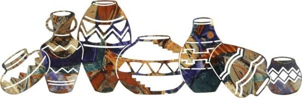 "7 Southwest Pots Horizontal Southwestern   36""   Southwestern Metal Wall Art"