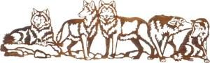 "Steel Wall Hanging | 30"" | Pecking Order (Wolves) Over the Door | Metallic Wall Artwork"