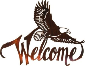 "Laser Cut Art ~ 20"" Winged Eagle Welcome Sign 