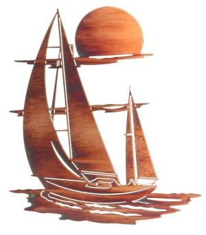 "Sunset Sails Nautical Laser Cut Steel | 24"" | Metal Wall Art"