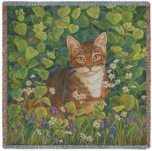 Cat In Lemon Balm Woven Afghan Blanket | 54 x 54