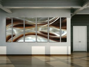Yihui Arts Abstract Brown Metal Wall Art