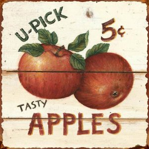 U-Pick Apples Vintage Tin Sign