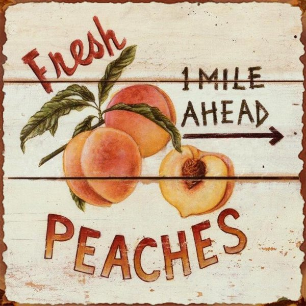 Fresh Peaches Vintage Tin Sign