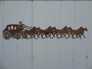 """Stagecoach and Horses Country Metal Wall Art 