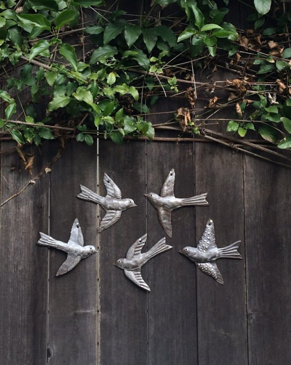 "Flying Birds | Haitian Metal Wall Art from Recycled Oil Drums | Set of 5 x 6"" Birds"