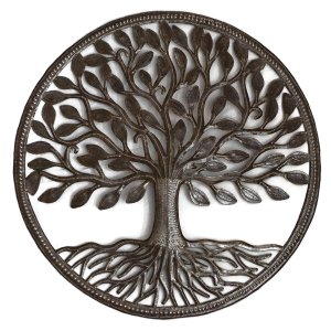 Tree of Life Circle | Haitian Fair Trade Metal Wall Art | 23""