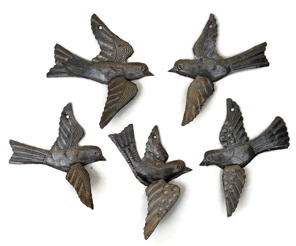 "Flying Birds | Haitian Metal Wall Art from Recycled Oil Drums | Set of 5 x 5"" Birds"