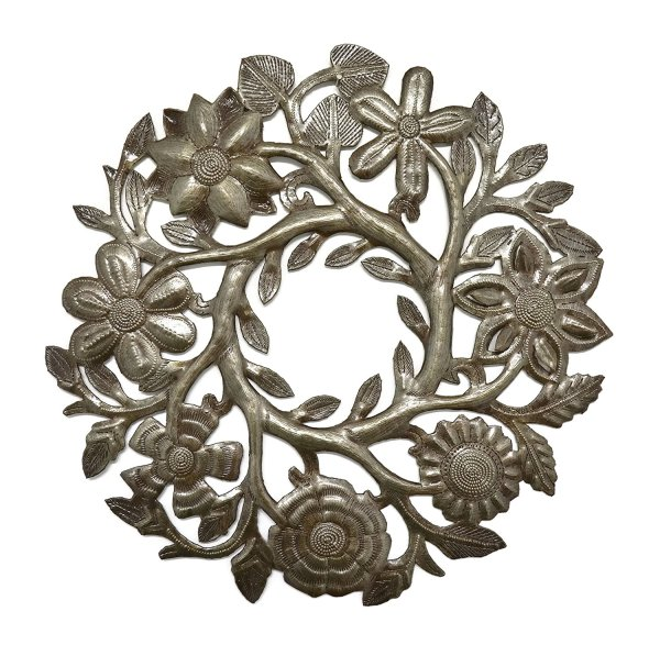 Floral Wreath | Haitian Metal Wall Art from Recycled Oil Drums | 14""