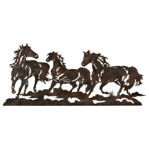 Running Horses Rust Metal Wall Art