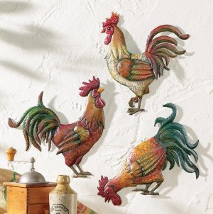 French Country Rooster Metal Wall Art Trio