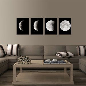 Phases of the Moon | 4-Piece Canvas Art Set