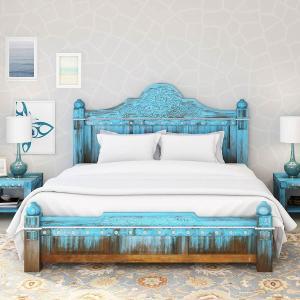 Sierra Living Concepts | Empire Blue Dawn Solid Mango Wood California King Size Platform Bed
