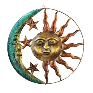 Artistic Indoor/Outdoor Sun & Moon Metal Wall Art