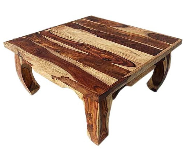 Rustic Wood Coffee Tables | Dallas Natural Solid Wood 35″ Square Opium Coffee Table