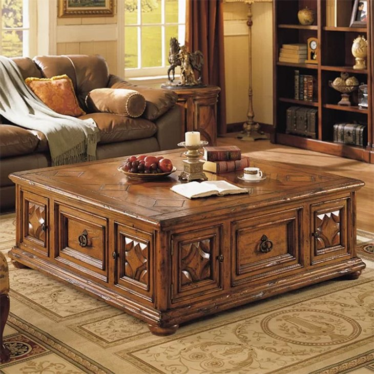 Traditional Wood Coffee Tables   Eastern Legends   Aspen Road Coffee Table with Storage   Brown
