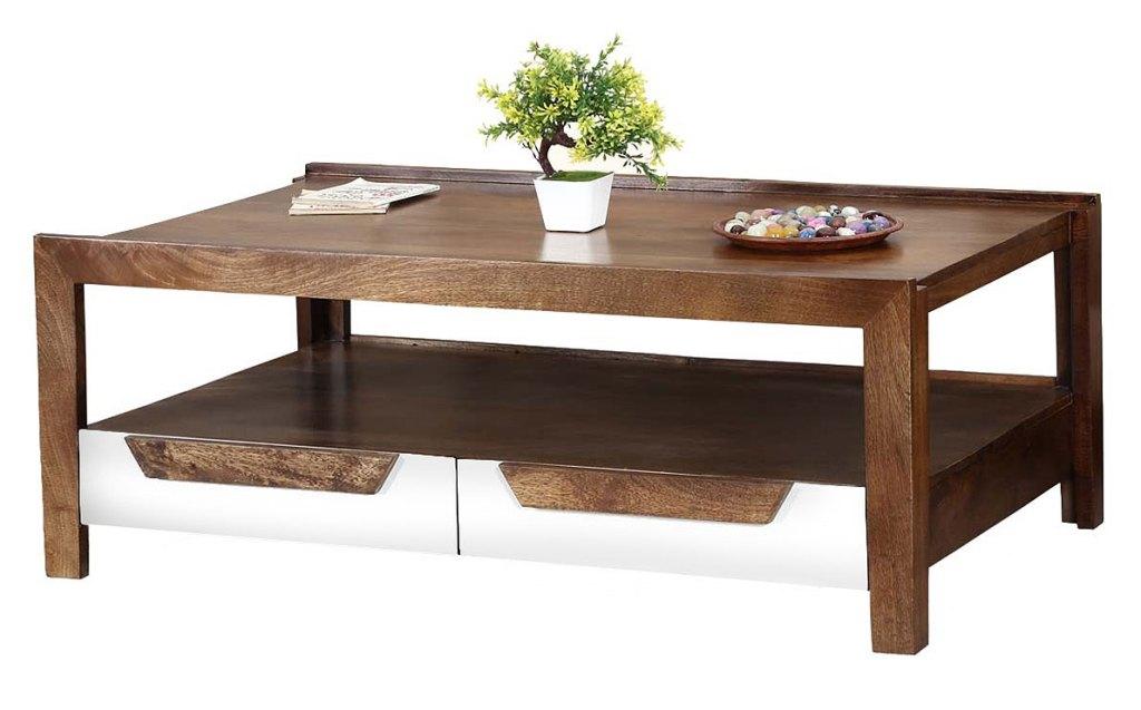 Retro Wood Coffee Tables | Sierra Living Concepts | 60's Retro Mango Wood 2 Tier Raised Edge Coffee Table with Drawers