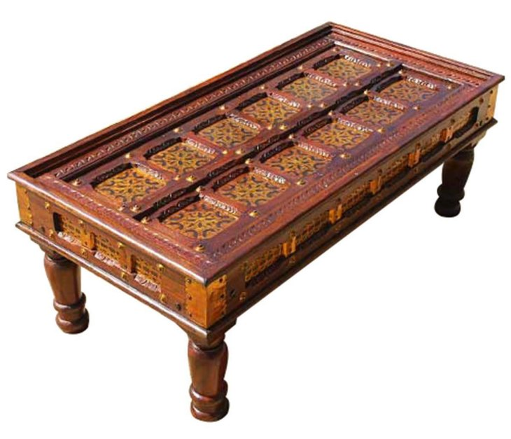 Traditional Wood Coffee Tables | Sierra Living Concepts | Antique Design Ornate Brass Inlay Mango Wood Coffee Cocktail Table