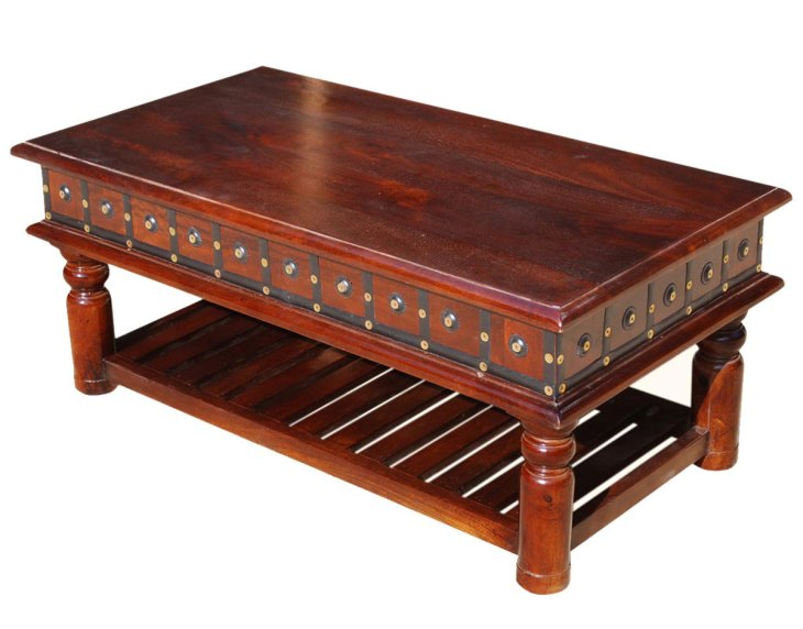 Traditional Wood Coffee Tables   Sierra Living Concepts   Colonial Dutch Mango Wood 2-Tier Coffee Table