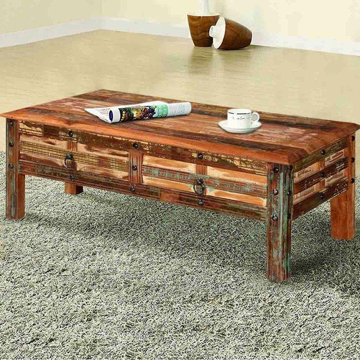 Rustic Wooden Coffee Tables | Sierra Living Concepts | Pioneer Rustic Reclaimed Wood 2 Drawer Coffee Table