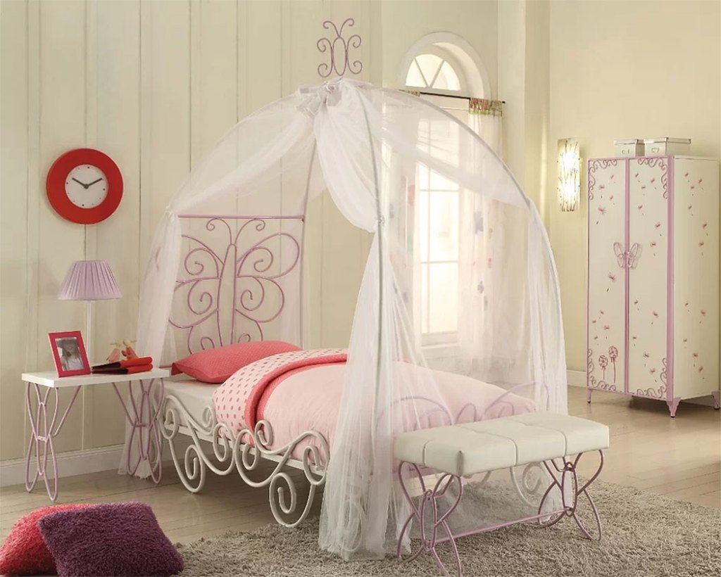 Rustic & Farmhouse Canopy Beds  Zoomie Kids Kimes Butterfly Full Bed