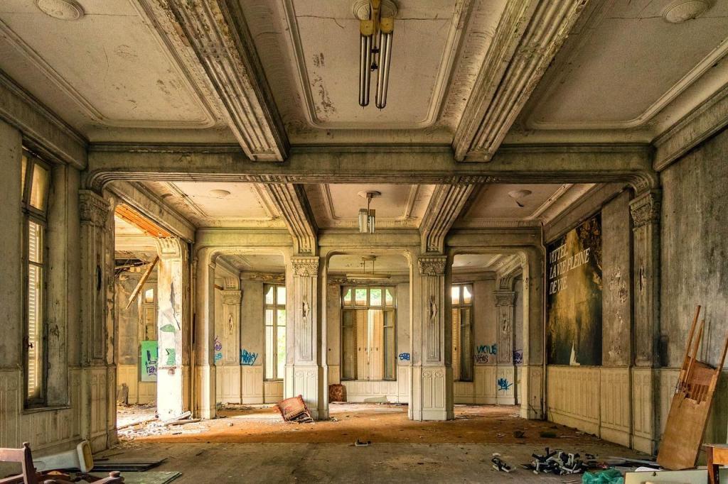 Interior rundown manor home