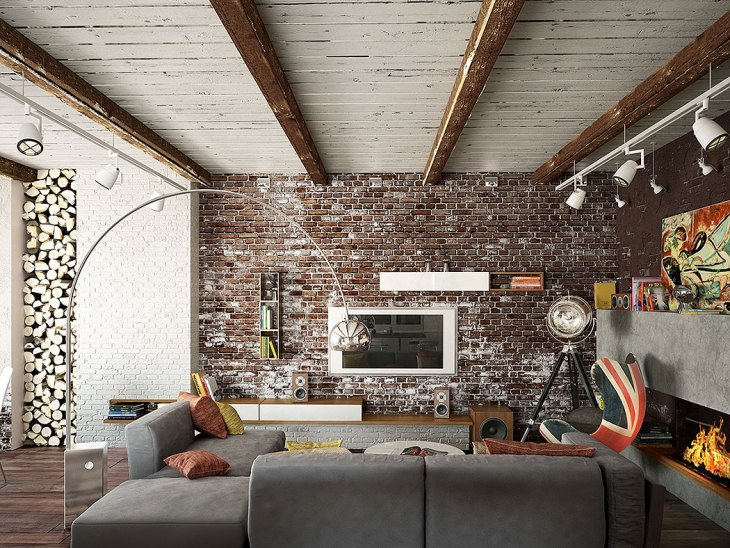 Distressed Brick Wall Mid Century Modern Living Room
