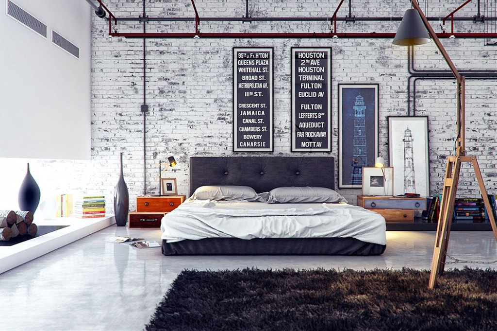 Grey and White Distressed Brick industrial Wall