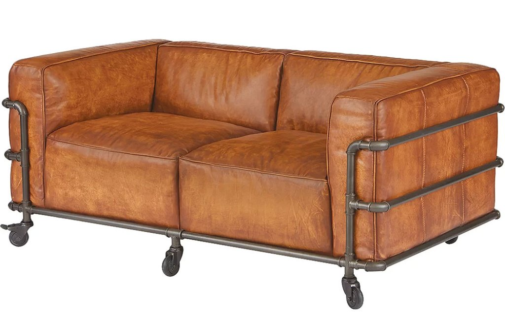 Industrial Pipe Leather Sofa