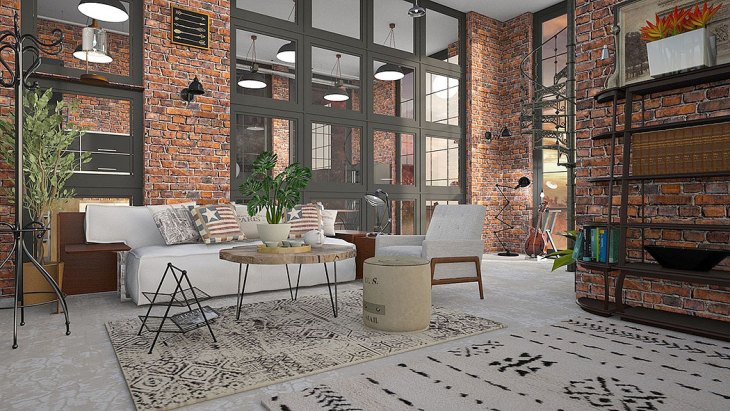 Loft with Exposed Red Brick Walls