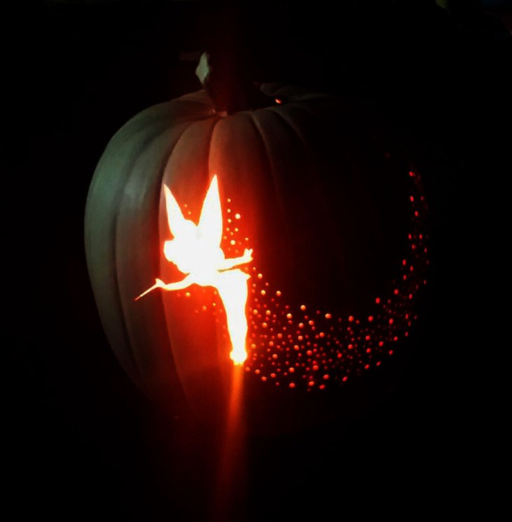 Tinkerbell Pixie Dust Carved Pumpkin