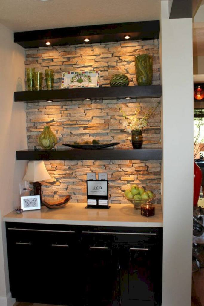 Stone Wall Backed Storage Nook