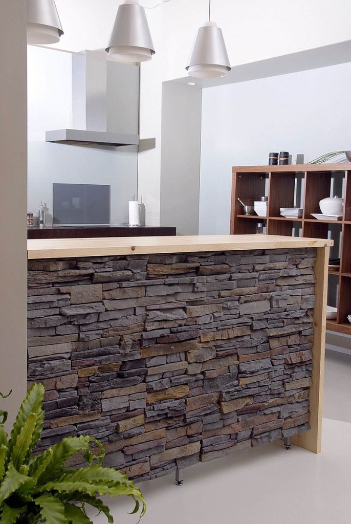 Stone Faced Kitchen Island