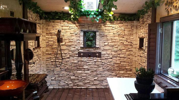 Stone Paneled Wall in Walk-In Shower