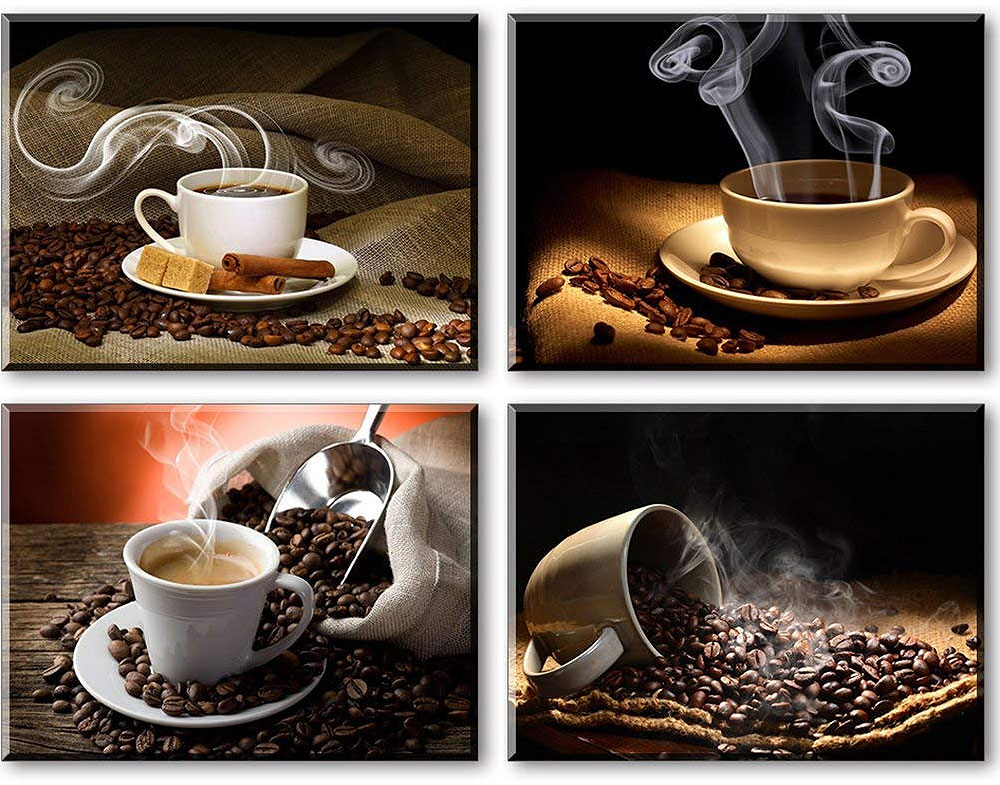 Coffee Decor for Coffee Lovers | 4 Panel Coffee Canvas Art Set