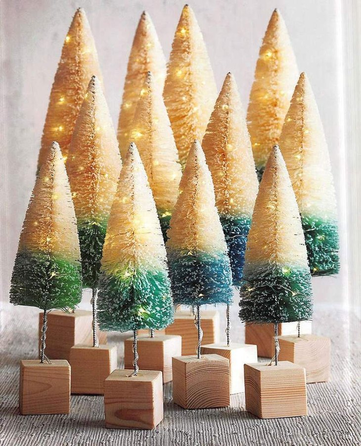 Banded Brushy Lighted Christmas Trees