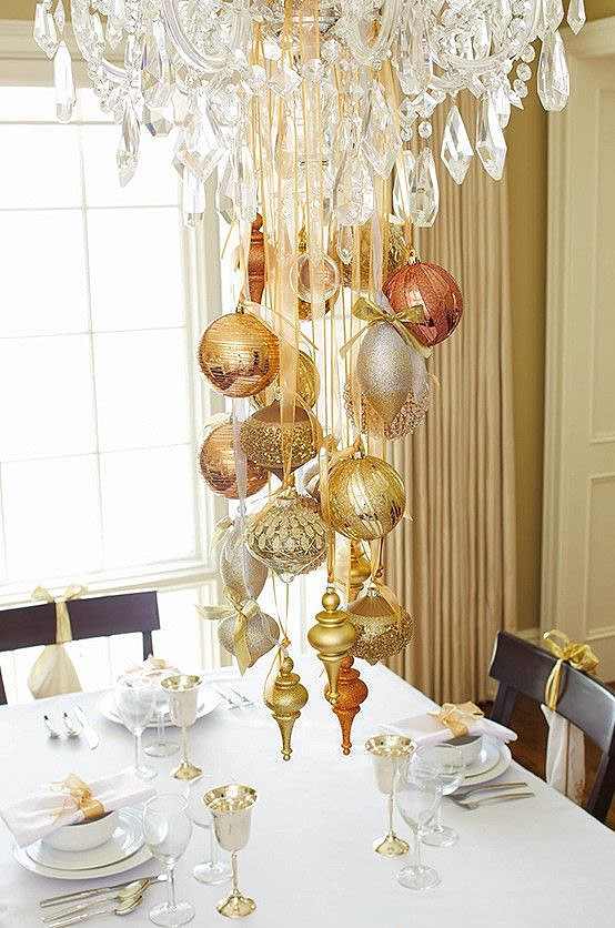 Christmas Crystal and Gold Chandelier