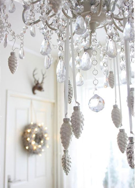 Crystal & White Pinecone Chandelier