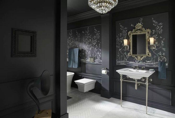 Dark & Glamorous Black Bathroom