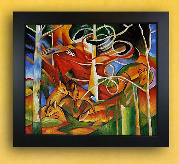 Deer in the Forest by Franz Marc Framed Oil on Canvas