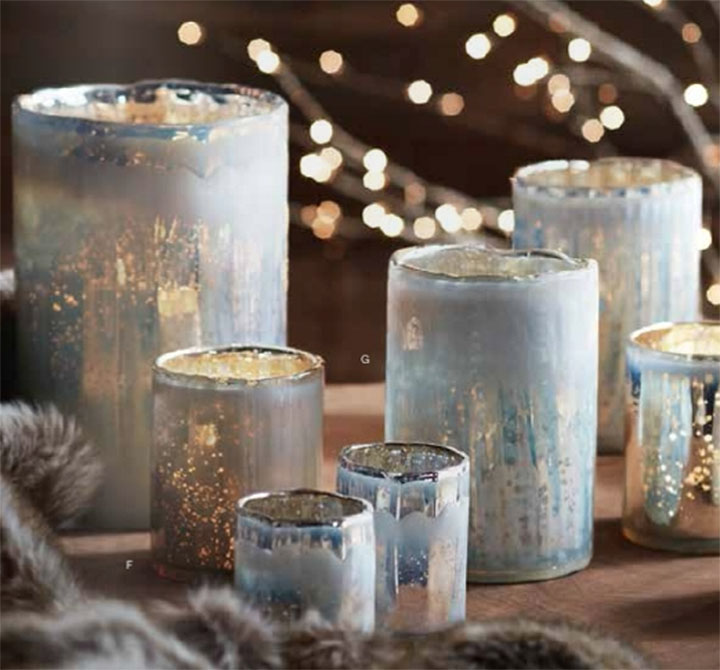 Icy Blue Optic Hurricane Candles