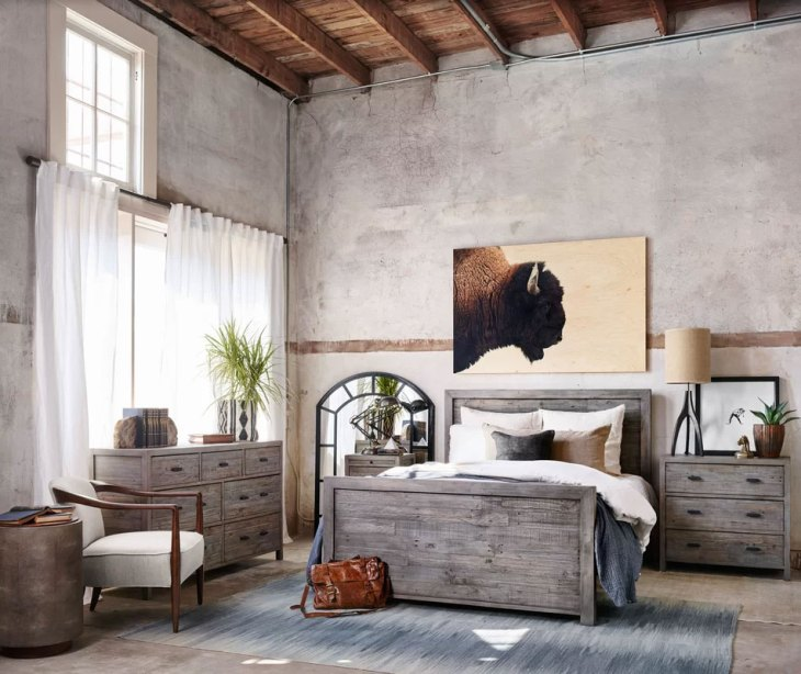 Masculine Wall Decor in an Industrial Rustic Bedroom