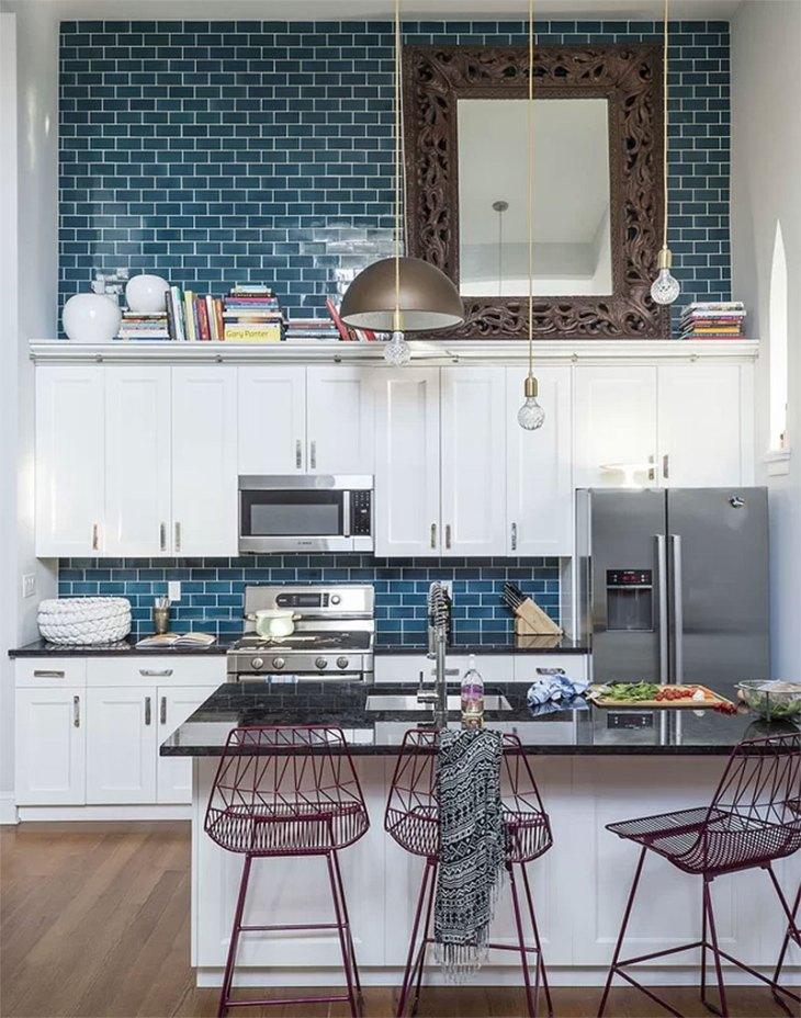 Modern Kitchen with Blue Subway Tile