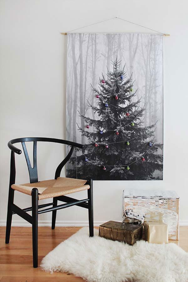Tapestry Printed Christmas Tree Alternative