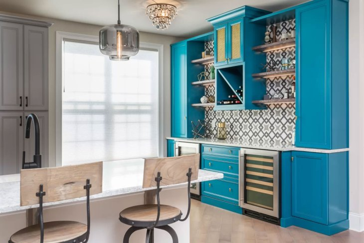 Vibrant Blue Kitchen Cabinets