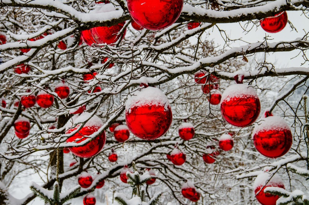 Christmas Decorations Snow Covered Tree Winter Scene