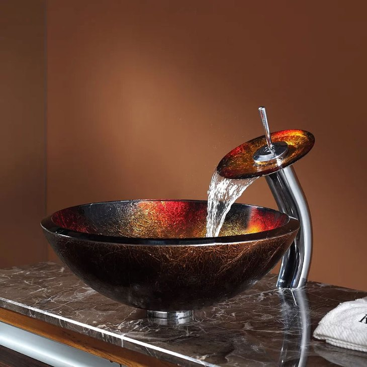 Copper Glass Circular Vessel Bathroom Sink