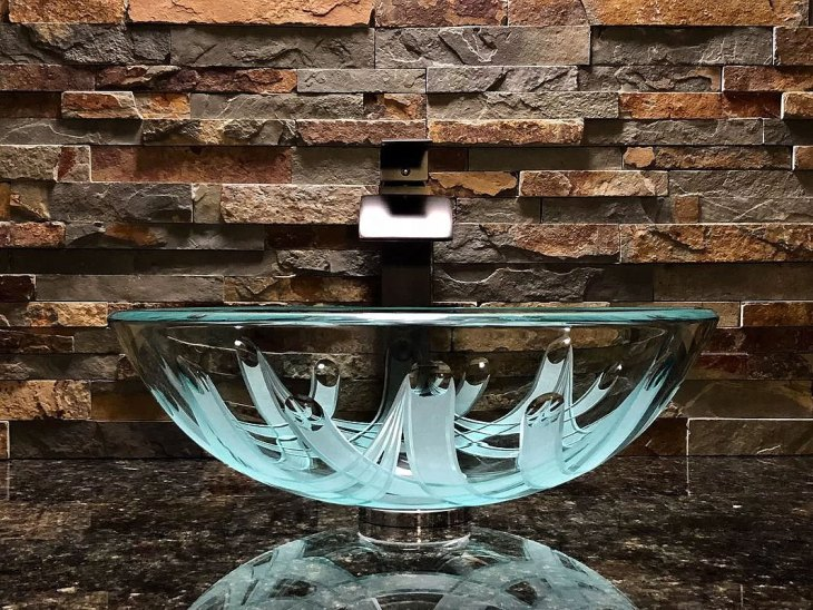 Crown Glass Circular Vessel Bathroom Sink